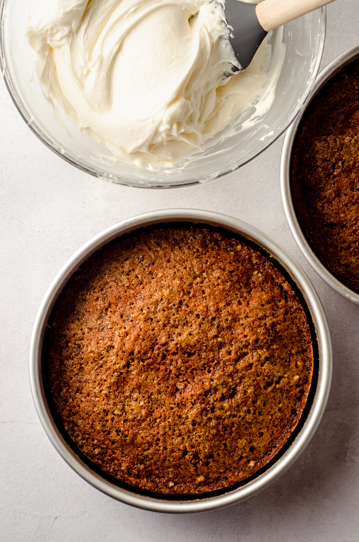 aerial photo of carrot walnut cake in baking pans