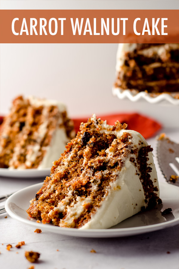 Incredibly moist and flavorful carrot cake filled with crunchy walnuts and covered in a smooth and creamy cream cheese frosting.