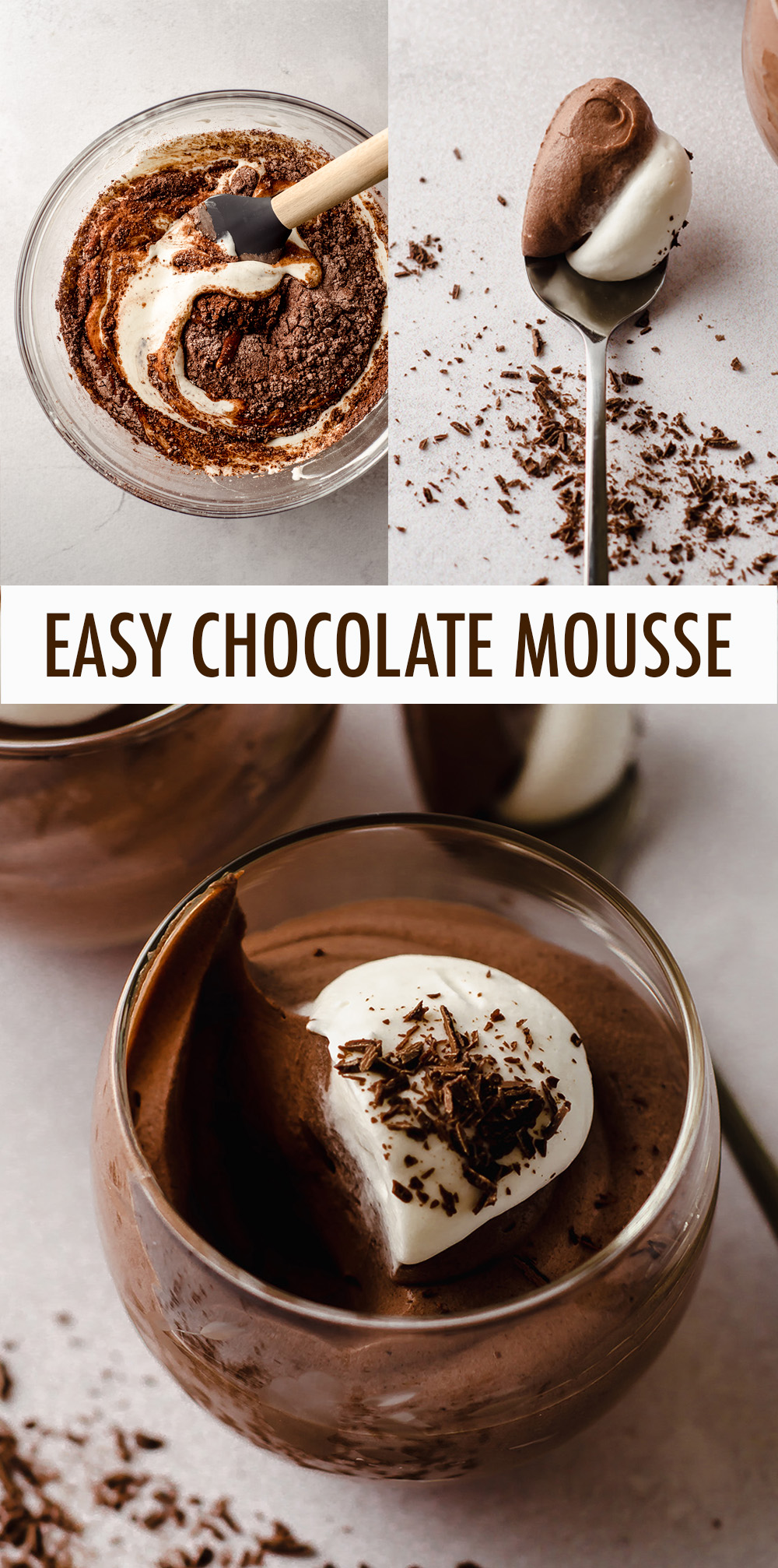 This simple and quick chocolate mousse comes together in less than 10 minutes and is made without any eggs. Top with whipped cream or berries for a light and refreshing dessert!