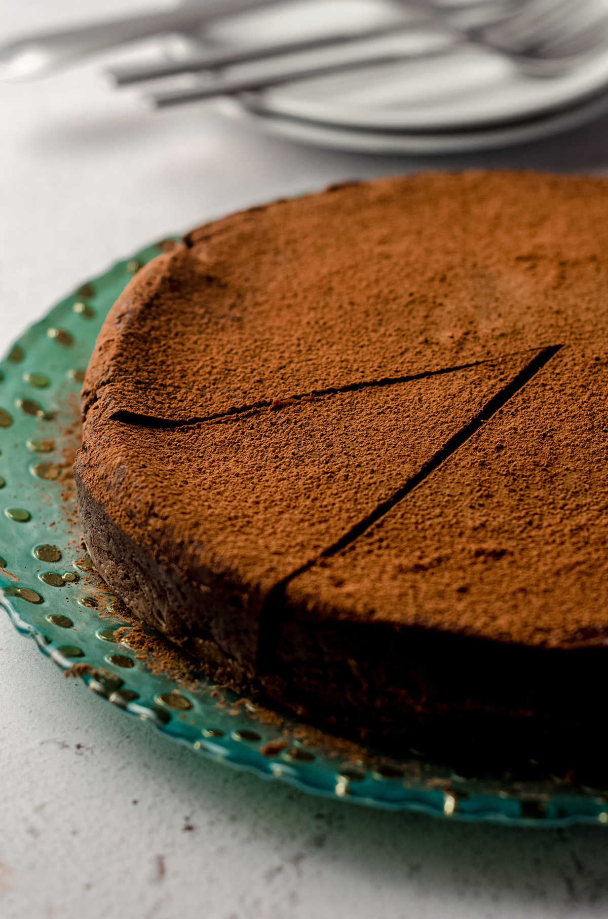 gluten free dairy free chocolate cake on a plate