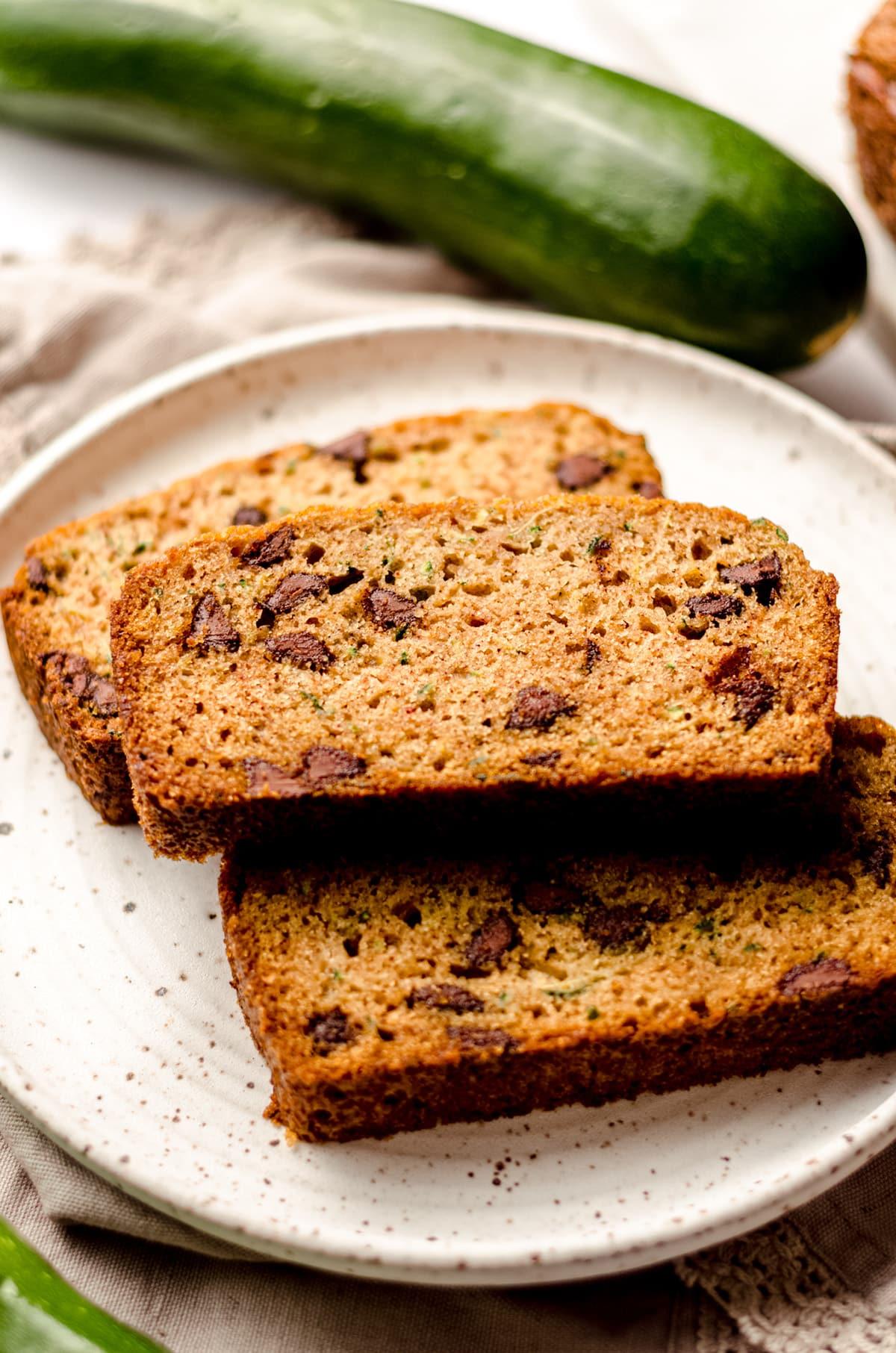 slices of chocolate chip zucchini bread