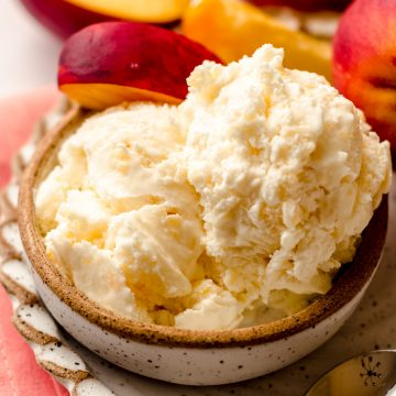 bowl of homemade peach ice cream