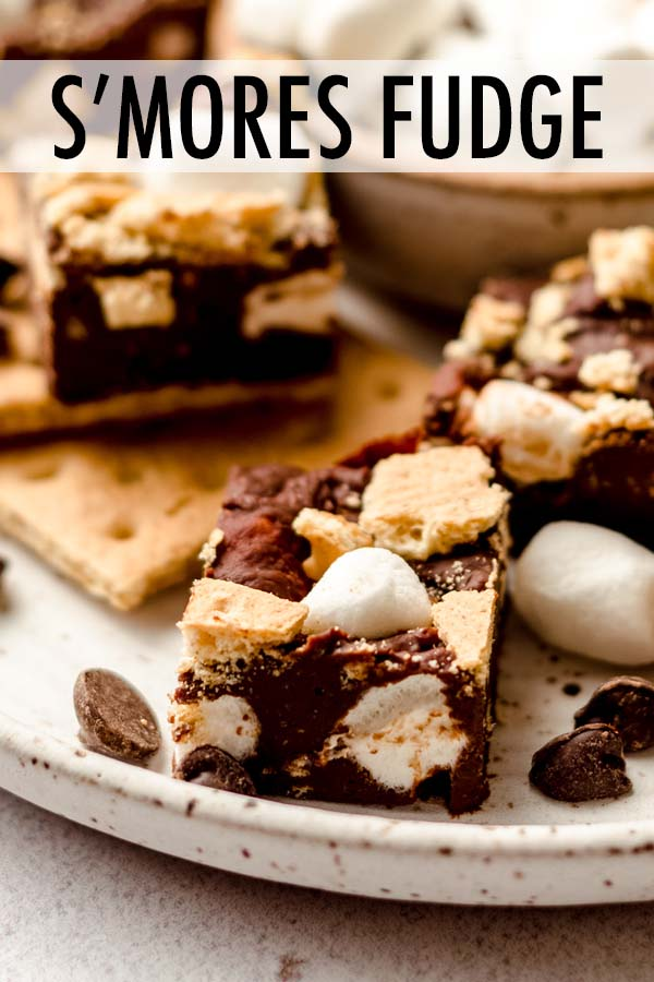 A quick and easy 4-ingredient recipe for creamy chocolate fudge filled with pieces of crunchy graham crackers and soft marshmallows.
