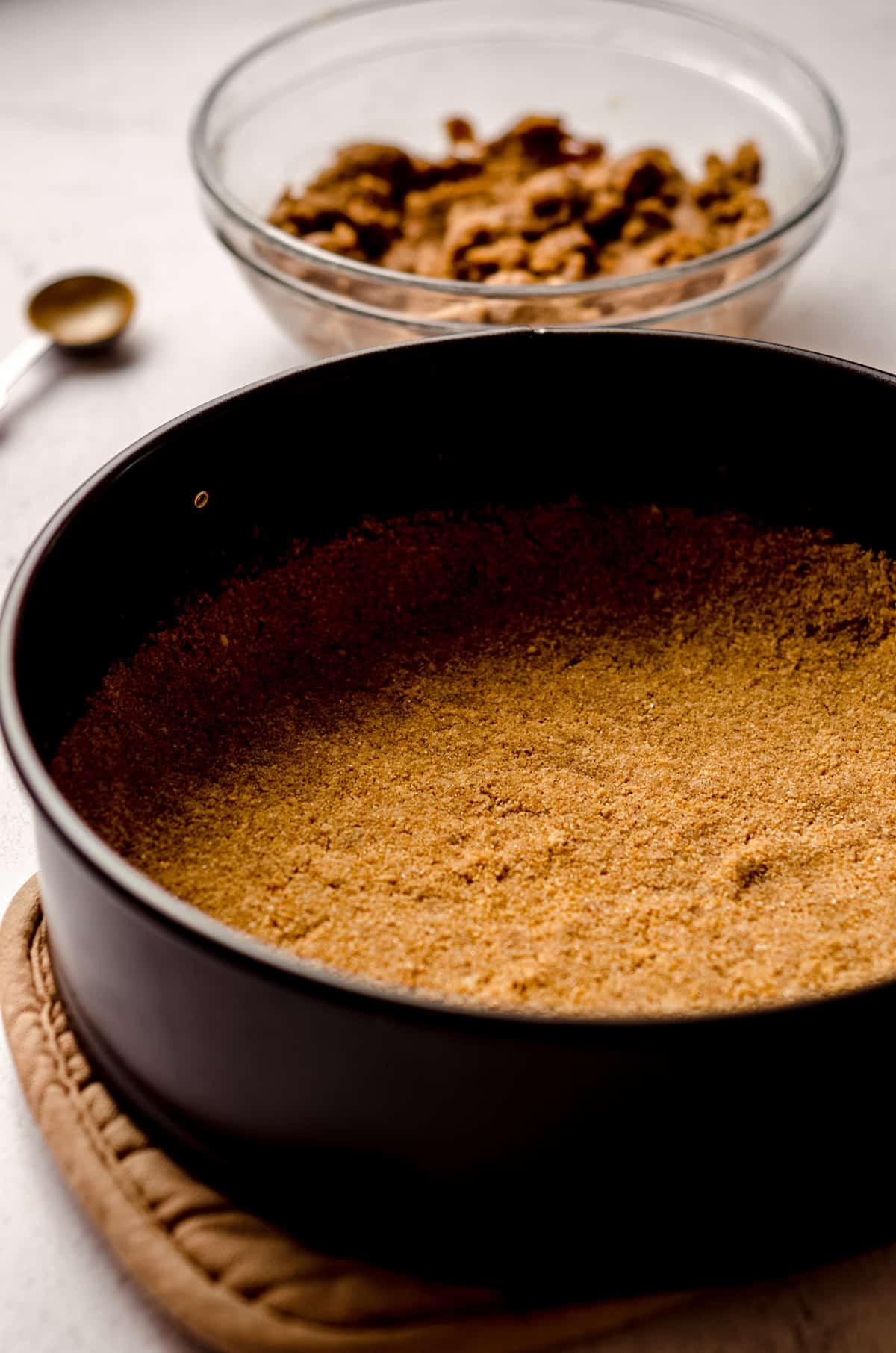 nilla wafer crust in a springform pan