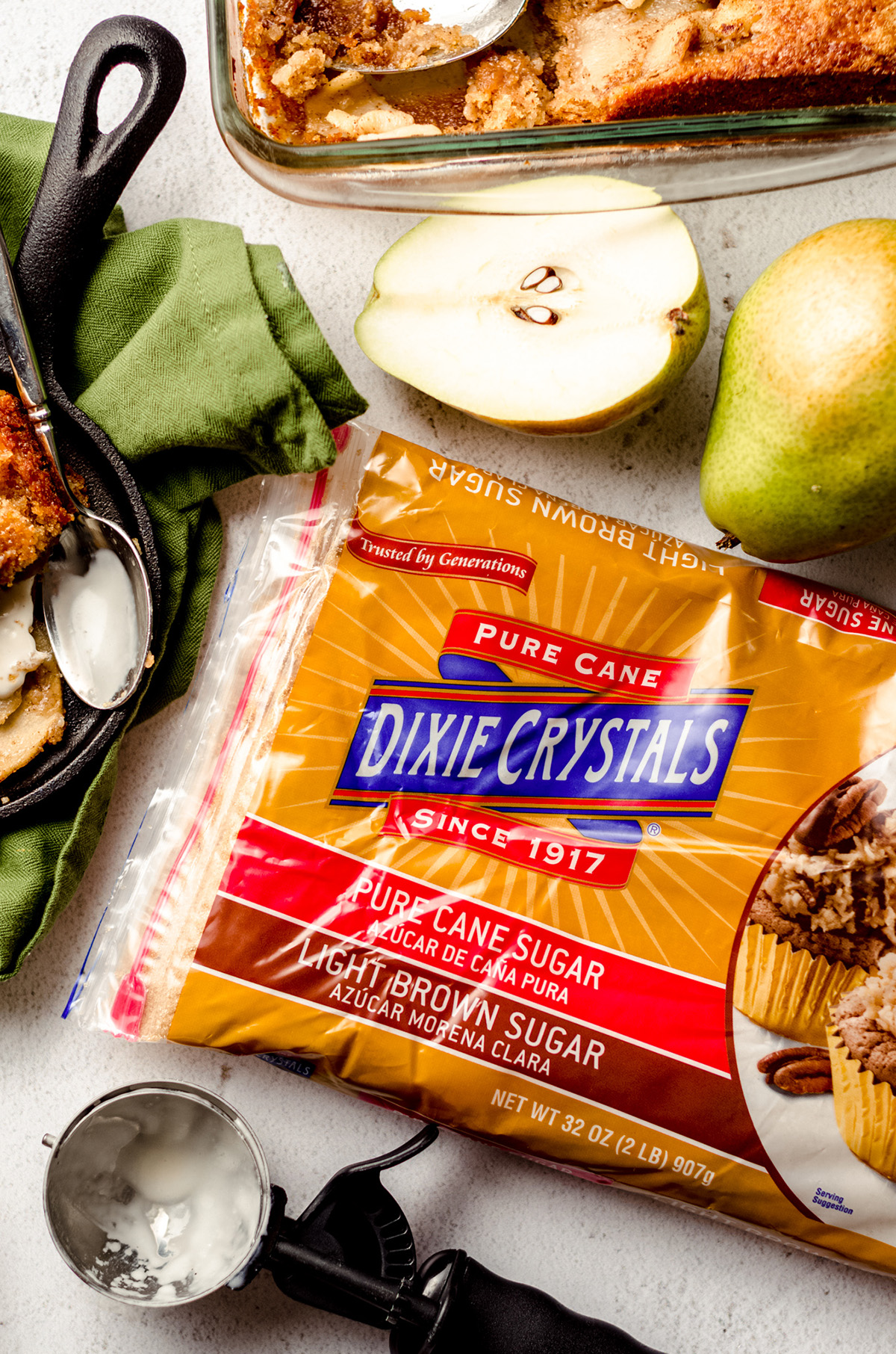 aerial photo of dixie crystals brown sugar and pears