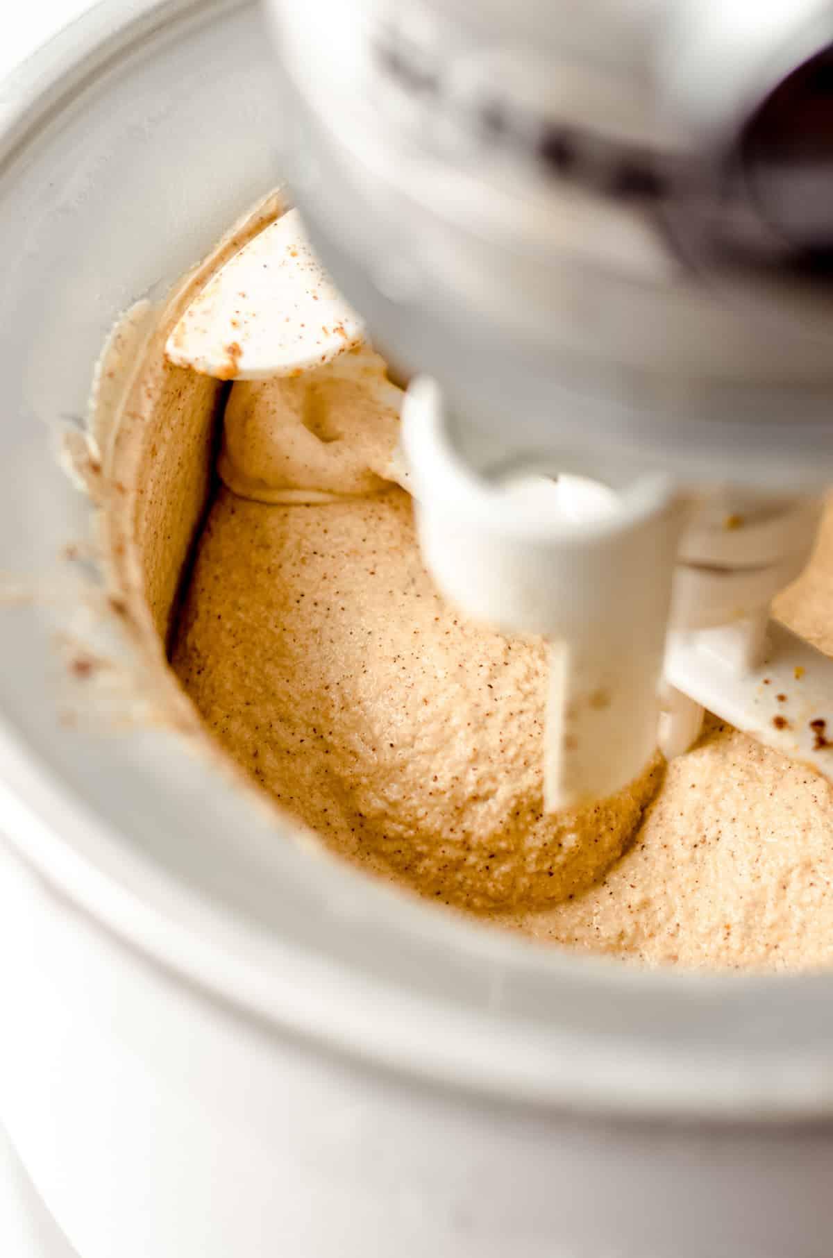 pumpkin ice cream in an ice cream maker