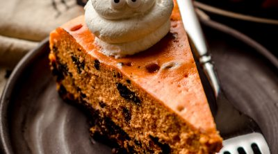 slice of halloween cheesecake on a plate