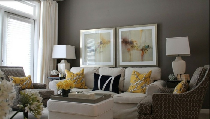 Accent Chair Leather Yellow