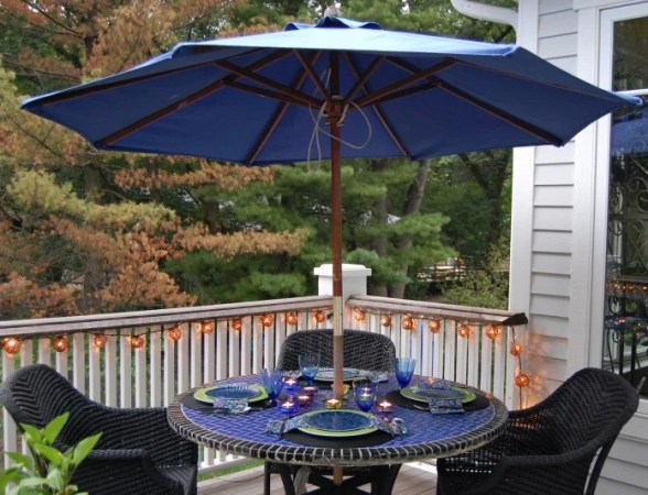 45 Patio Umbrella Ideas   Sun Shade Sail Designs for Backyard Cobalt Blue Market Umbrella