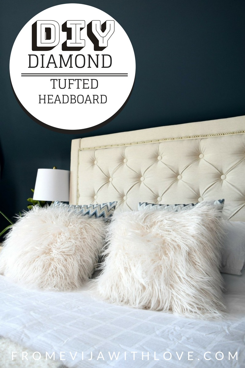 DIY How to Create a Diamond Tufted Upholstered Headboard   From     We started by designing our headboard  after looking at various options and  what we could re create we decided on diamond tufted upholstered headboard