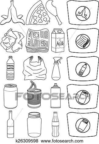 Food Bottle Cans Paper Recycle Line Clip Art K26309598 Fotosearch