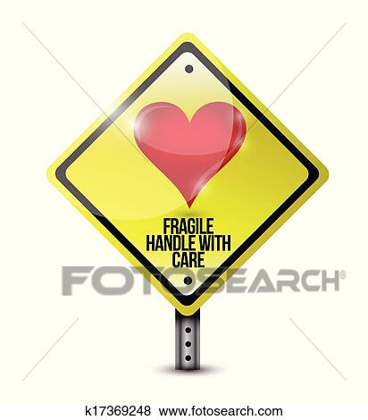 Heart fragile handle with care sign illustration Clip Art ...