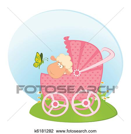 Clipart Of Sheep With Scribble Baby Carriage K6181282 Search Clip Art Illustration Murals