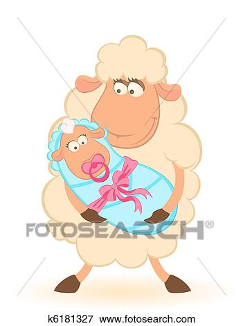 Clip Art Of Sheep Mother With Infant Baby K6181327 Search Clipart Illustration Posters