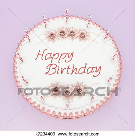 Stock Illustration Of Top View Of Birthday Cake With