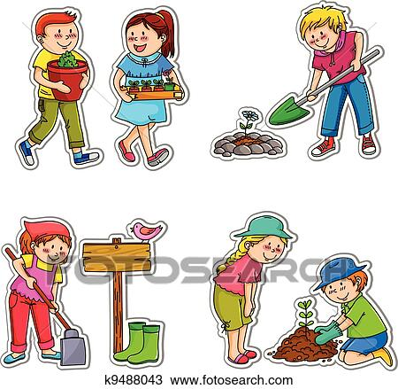 Gardening kids Clipart | k9488043 | Fotosearch