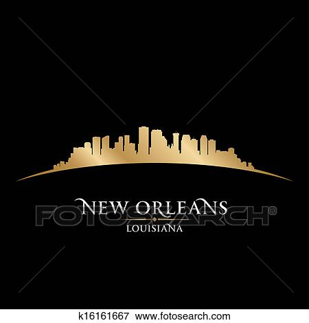 Clip Art of New Orleans Louisiana city skyline silhouette ...