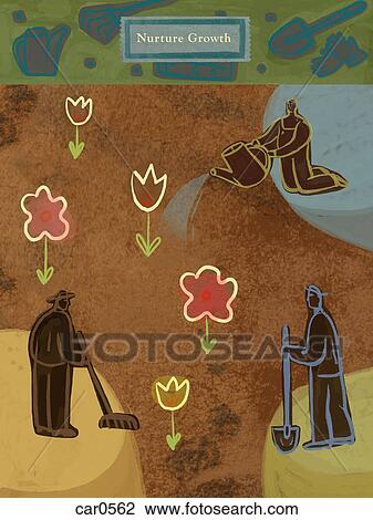 Clip Art of People gardening and the text: Nurture Growth ...