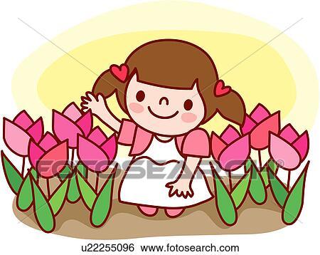 Clip Art of child, flower garden, one person, person ...
