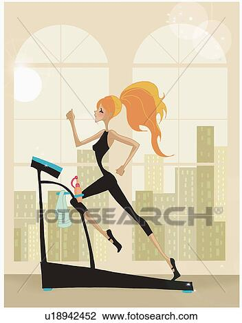 Clip Art Of Woman Running On The Treadmill U18942452 Search Clipart Illustration Posters