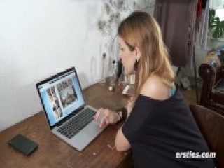 Irina Masturbating to Ersties Porn on Laptop