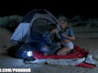 Busty blonde babe Samantha Saint fucks her man on a camping trip