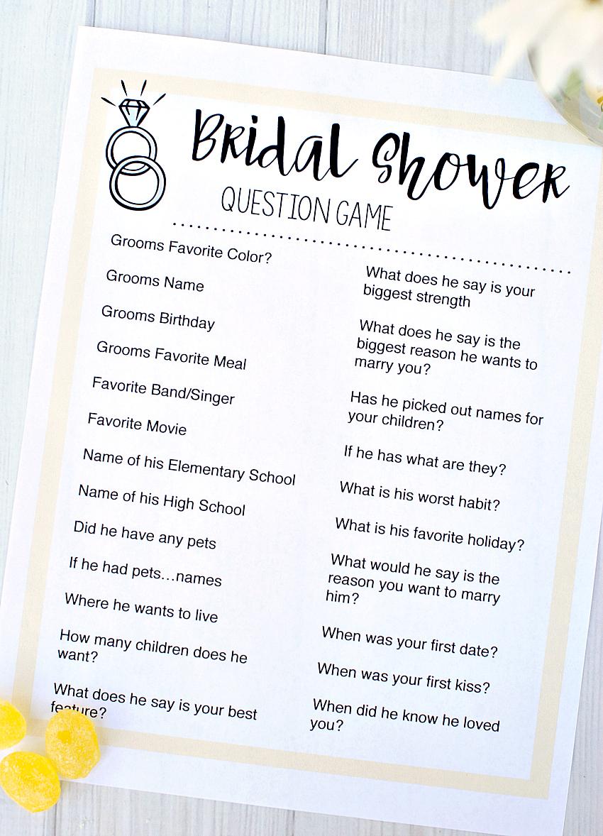 Bridal Shower Program Ideas
