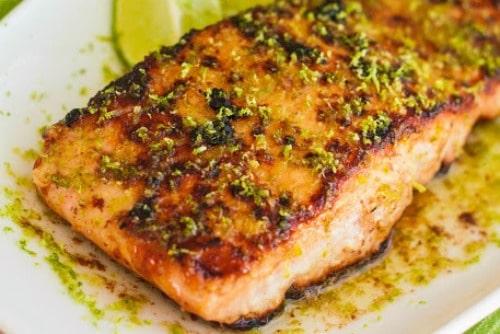slow cooker salmon with honey glaze