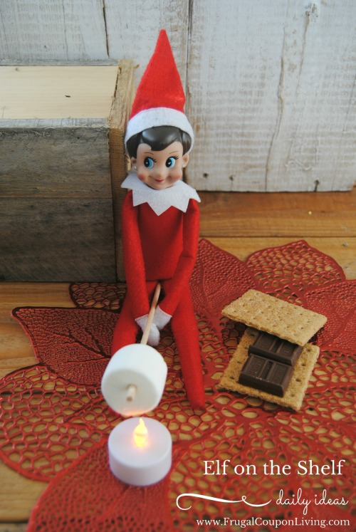 Elf On The Shelf Ideas - Making s'mores