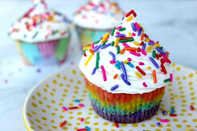 My girls loved the layers of the rainbow surprise cupcakes