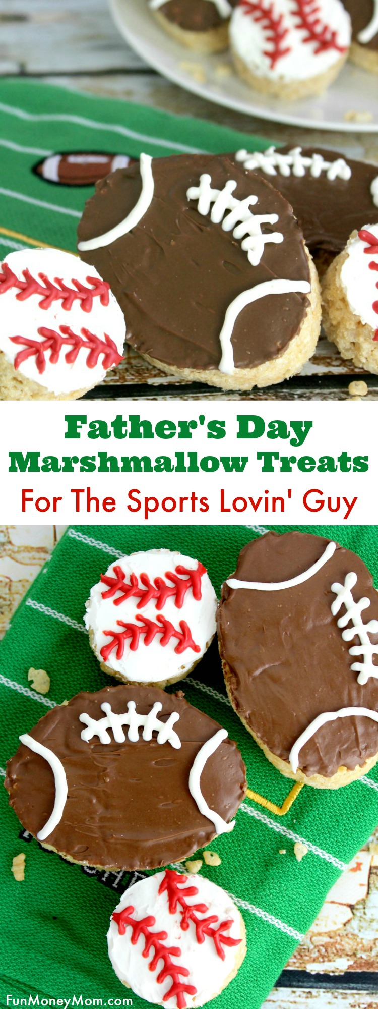 Does the man in your life love sports? Make him these deliciousIf so, hes' going to love indulging in a baseball or football shaped marshmallow treat for Father's Day!