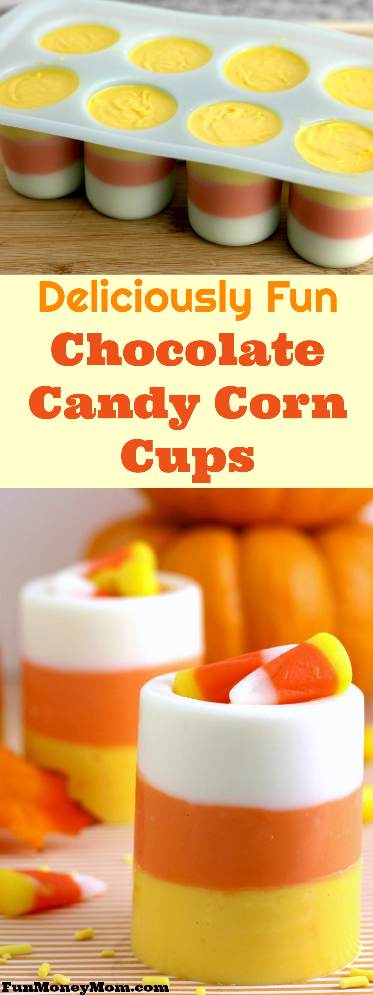 Why not treat your friends for Halloween? These chocolate candy corn cups make a delicious Halloween dessert that everybody will love!