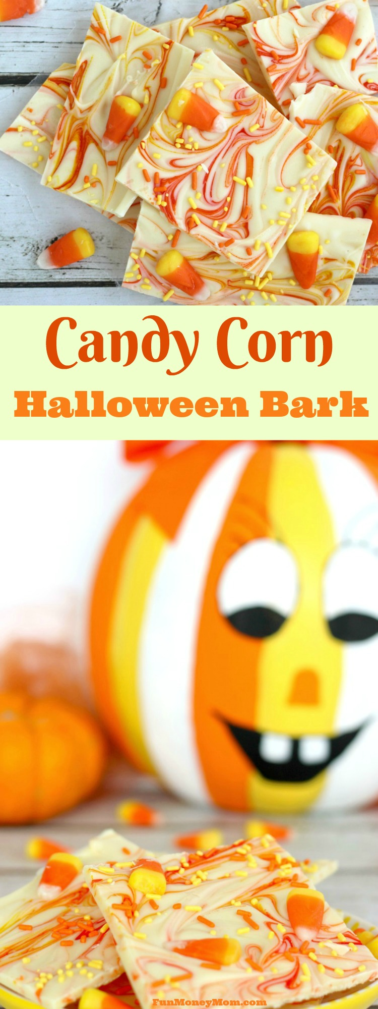 Need a fun Halloween treat? This Candy Corn Halloween Bark is both easy to make and fun to eat! It's perfect for Halloween parties or just a white chocolate Halloween treat.
