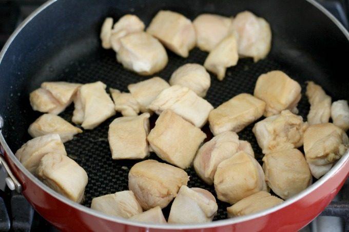 Brown the meat for the teriyaki chicken skewers