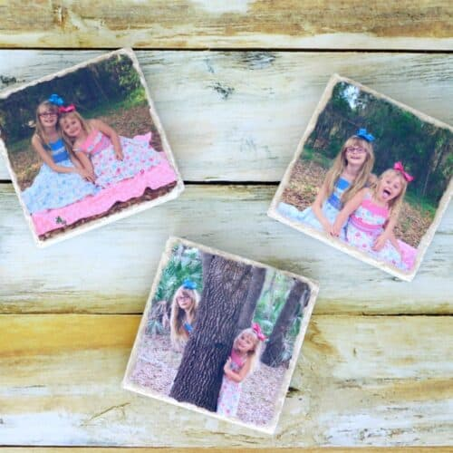 Tile photo coasters for Mother's Day