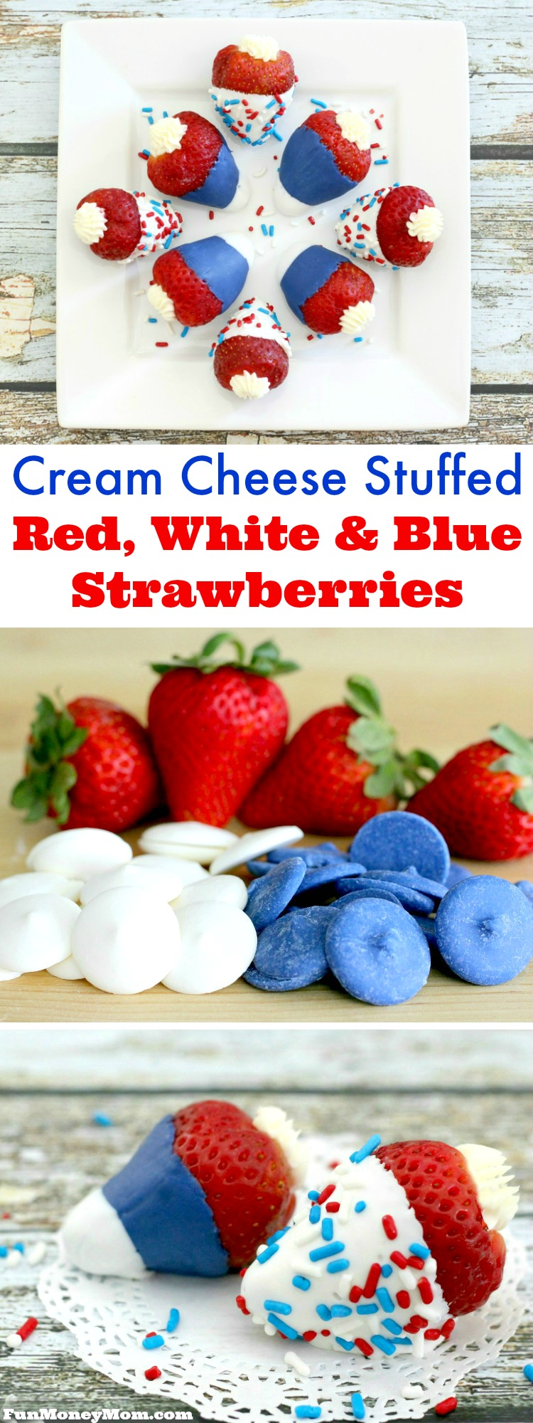 These colorful and fun Red, White & Blue Strawberries are perfect for Memorial Day, Fourth Of July or just anytime you're feeling a little patriotic!
