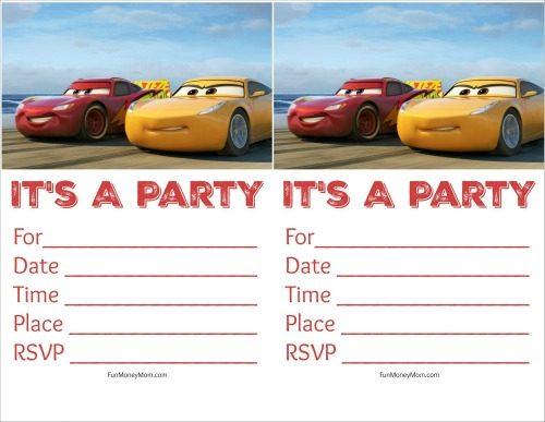Cars invitations racing