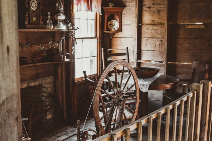 Spindle in an old pioneer cabin in Sarasota Florida