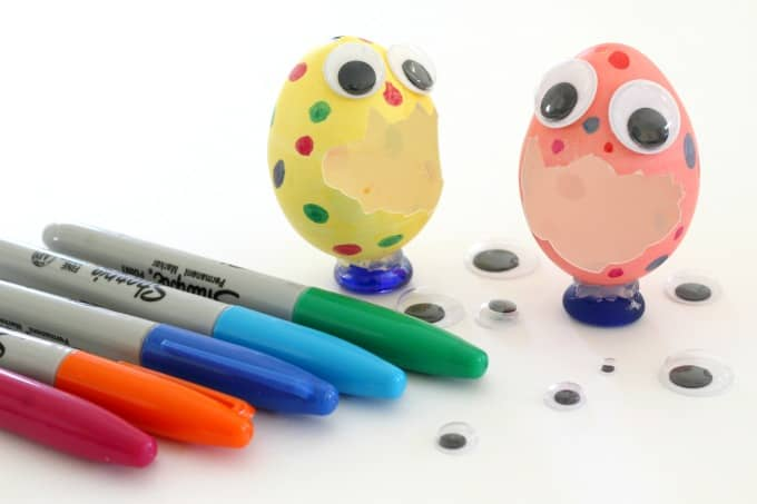 Wiggle eyes and markers turned these broken eggs into Easter egg monsters.