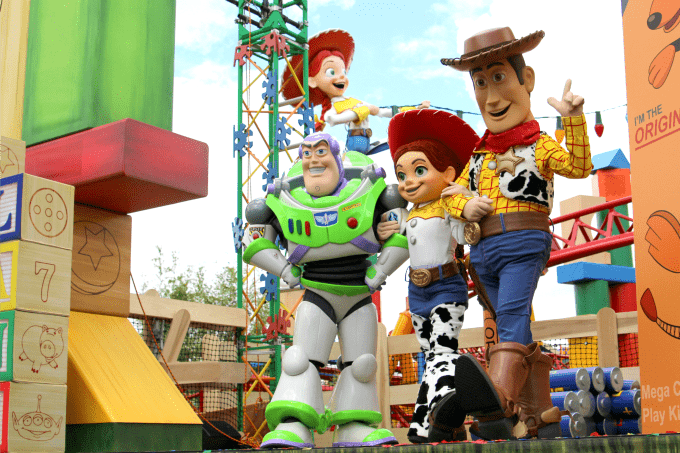 Buzz, Jessie and Woody at the Toy Story Land opening