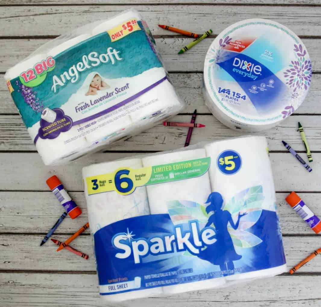 Paper towels, plates and toilet paper for back to school
