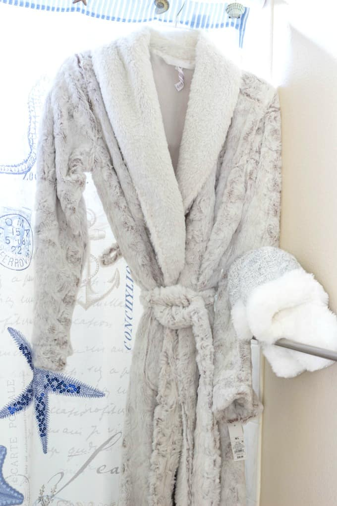 A fluffy robe and slippers are a must have for your DIY spa day