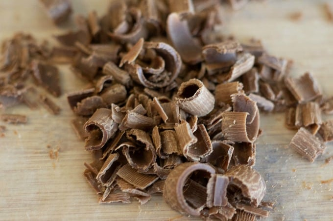 Use a vegetable peeler to make shaved chocolate for topping