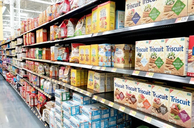 Triscuit crackers on shelf at Walmart