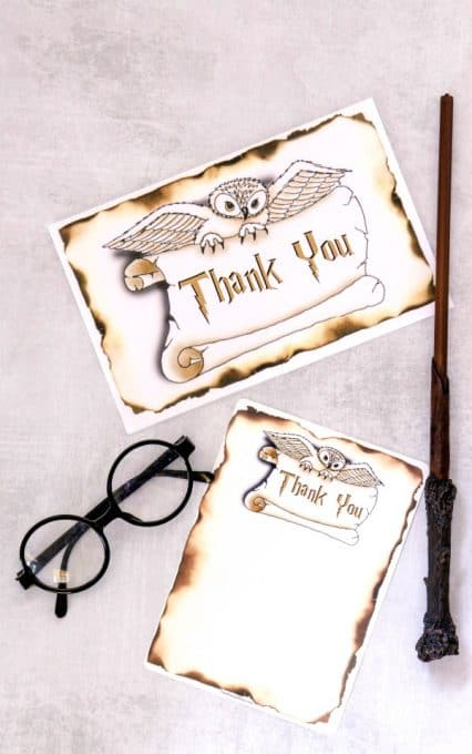 Hogwarts Inspired Thank You Card Template  Instant Download  Harry Potter Thank You Card Template  Geeky Card  Floating Candles