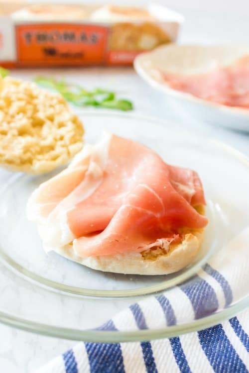 Prosciutto on english muffin
