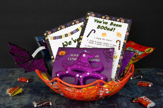 Basket filled with Halloween goodies