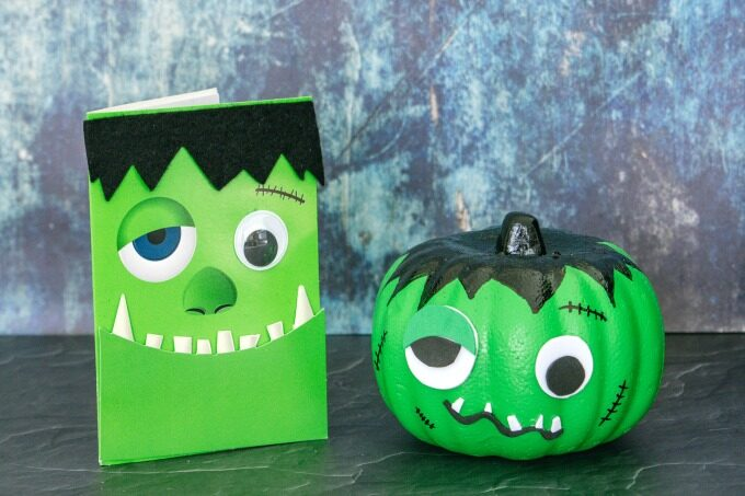 Frankenstein pumpkin with matching card