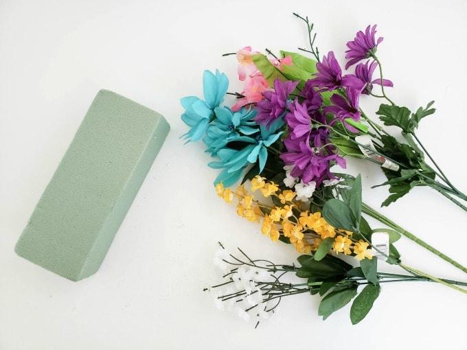 Silk flowers with flower foam