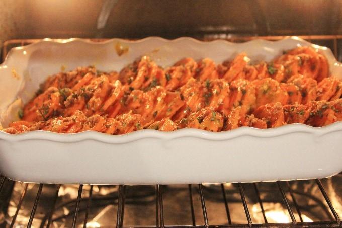 Sweet potatoes roasting in oven